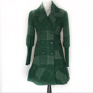 Green DEPT lined wool peplum coat jacket Small EUC